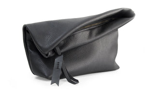 Black leather clutch bag or make-up pouch - AGUR clutch personalized with your name