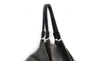 Susy Leather shoulder bag made of italian leather dark grey personalized with your initials
