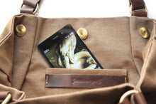 Load image into Gallery viewer, Susy Canvas and leather shoulder bag, made of water resistant canvas and leather