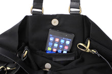 Load image into Gallery viewer, Weekend bag canvas and leather shoulder bag, black. Personalized bag with name