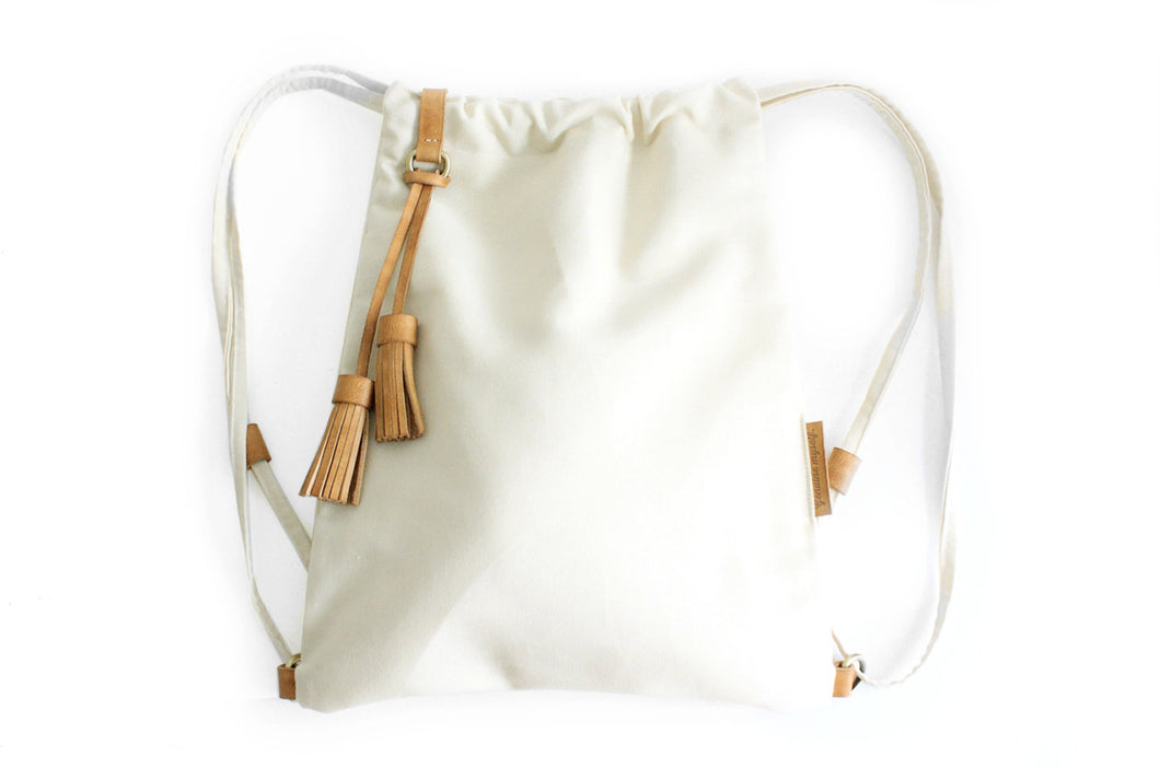Vale BACKPACK, canvas and leather backpack, beige. Personalized with your initials