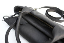 Load image into Gallery viewer, Leather CROSSBODY bag made of italian leather  color black. Laura leather crossbody and hand bag