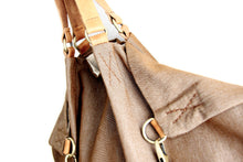 Load image into Gallery viewer, Weekend bag canvas and leather shoulder bag, brown. Personalized bag with name
