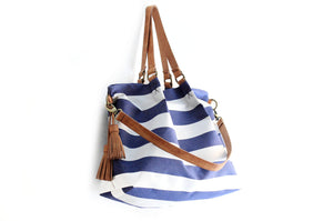 Susy Canvas and leather shoulder bag, striped blue. Susy shoulder bag