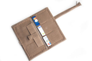 Cris leather wallet color light brown, taupe leather wallet.