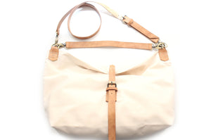 MARY, SHOULDER BAG made of canvas and leather, waterproof, color beige