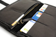 Load image into Gallery viewer, Cris leather wallet black color. Customizable wallet with your initials