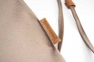 Vale BACKPACK, canvas and leather backpack, brown. Personalized with your initials