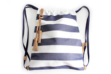 Load image into Gallery viewer, Vale BACKPACK canvas and leather backpack striped blue Personalized with your initials