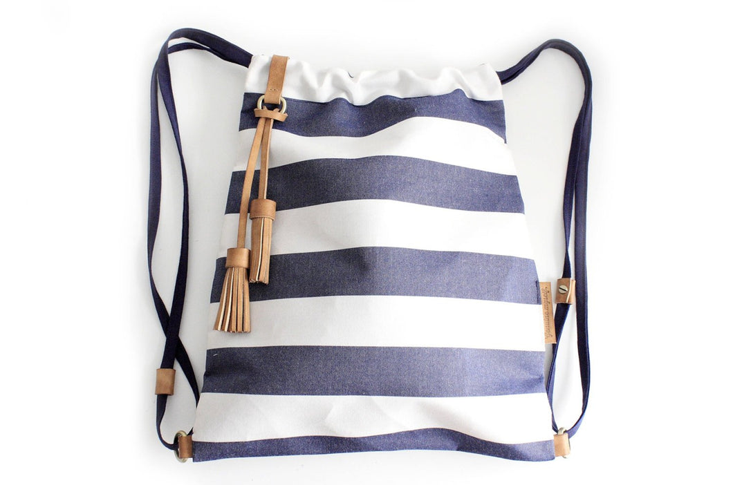 Vale BACKPACK canvas and leather backpack striped blue Personalized with your initials