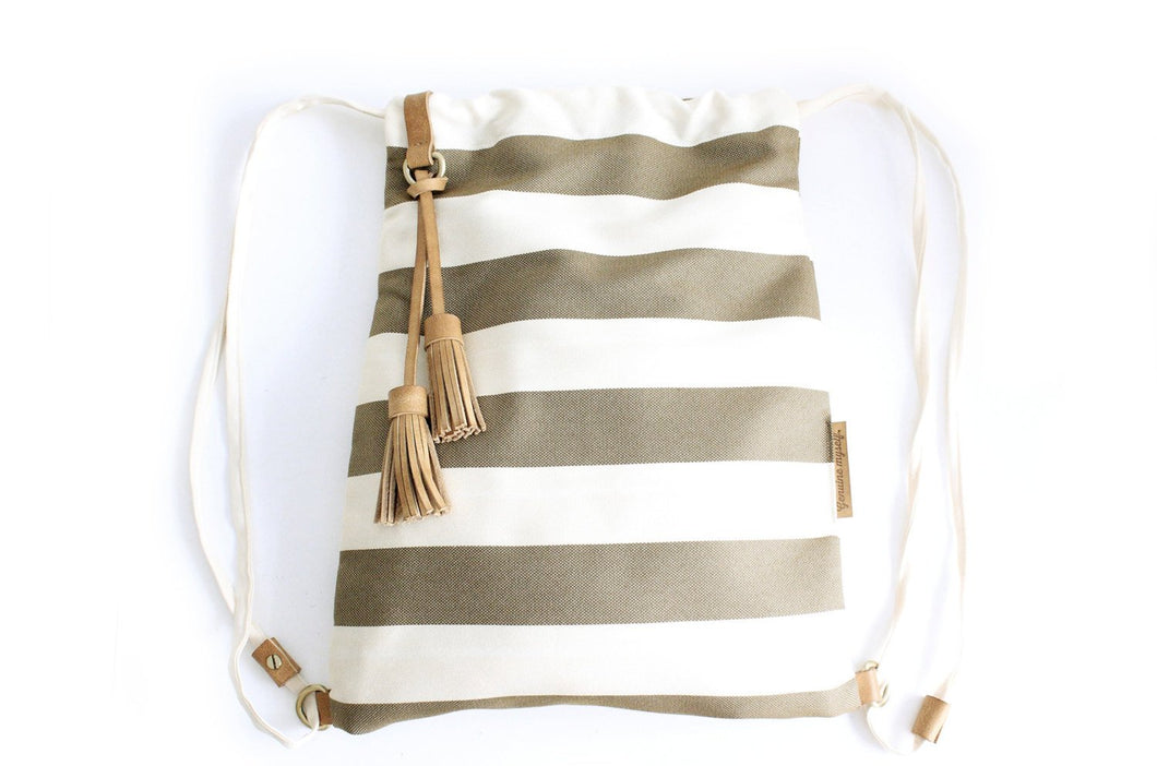 Vale BACKPACK, canvas and leather backpack, striped brown. Personalized with your initials.