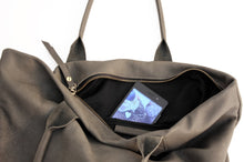 Load image into Gallery viewer, Leather tote bag, SHOULDER BAG made of italian leather grey. Mia leather shoulder bag