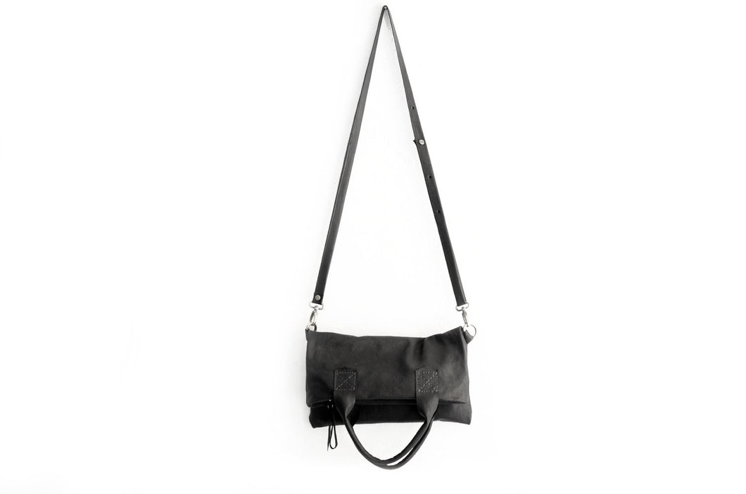 Leather CROSSBODY bag made of italian leather  color black. Laura leather crossbody and hand bag