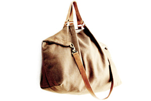 Weekend bag canvas and leather shoulder bag, brown. Personalized bag with name
