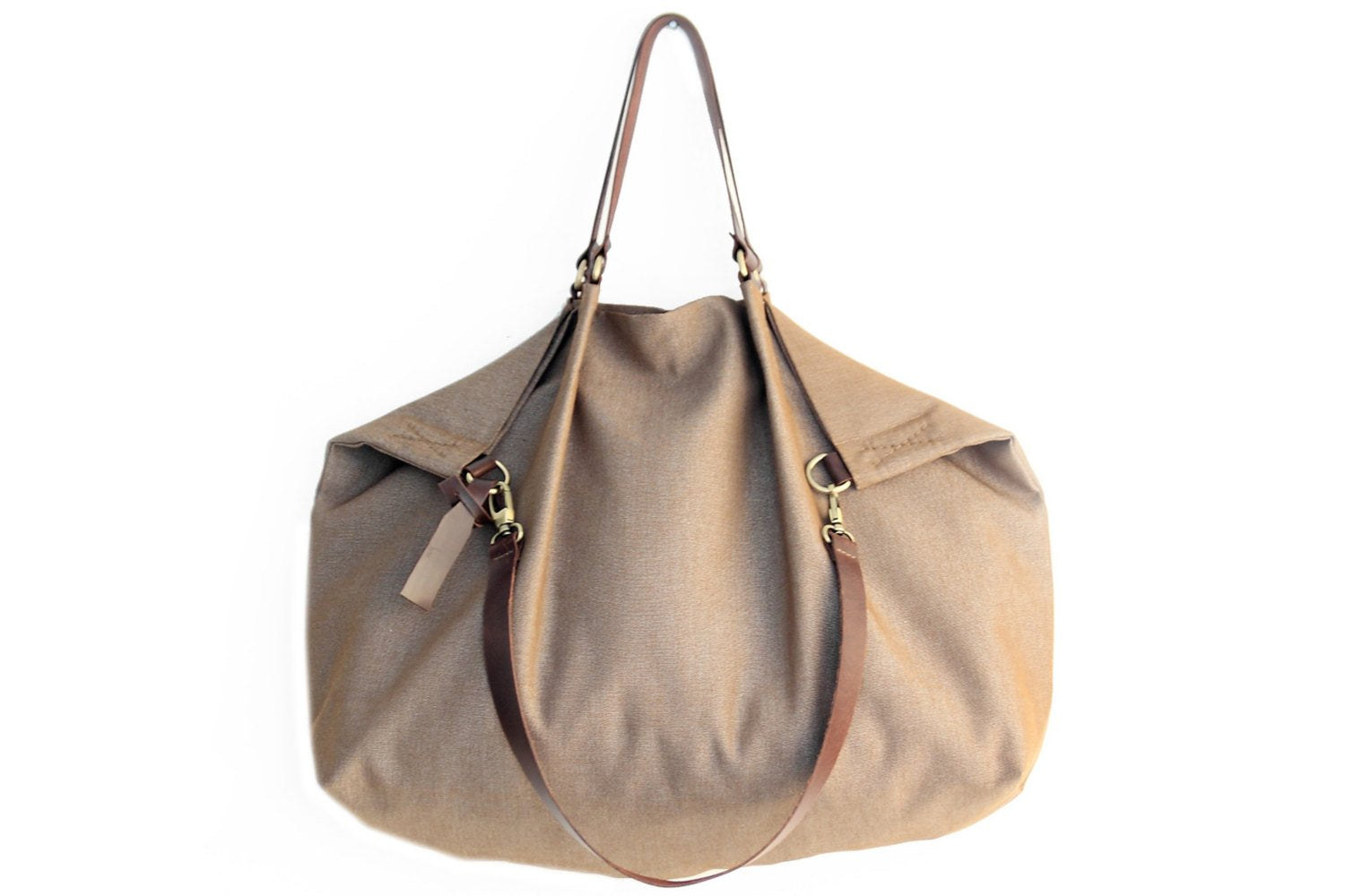 made of WATERPROOF fabric light brown Weekend bag Personalized bag with name. canvas and leather shoulder bag