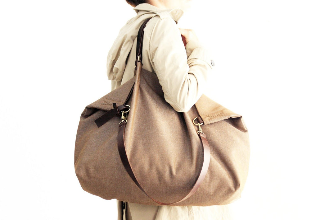 Weekend bag, canvas and leather bag, made of water resistant fabric brown personalized bag with name