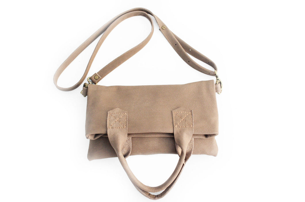 Leather CROSSBODY bag made of italian leather  color brown, taupe leather. Laura leather crossbody and hand bag