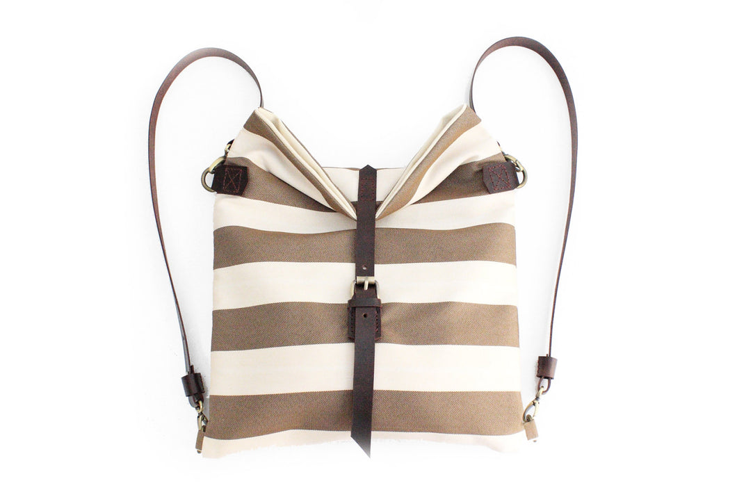 Roby BACKPACK, canvas and leather backpack, made of fabric and italian leather, striped brown.