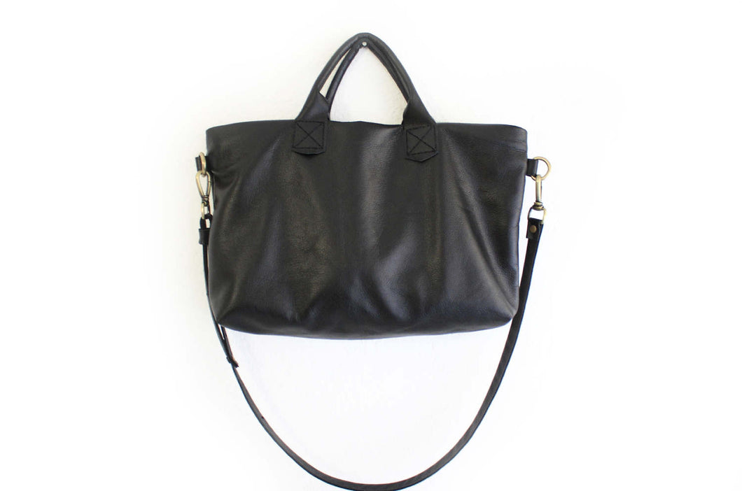 Leather crossbody bag, SHOULDER BAG with handles made of italian leather, black. Silvie leather shoulder bag and crossbody
