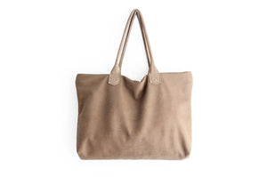 Leather tote bag, SHOULDER BAG made of italian Taupe leather. Mia leather shoulder bag