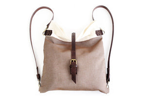 Roby BACKPACK, canvas and leather backpack, made of fabric and italian leather, brown and beige.