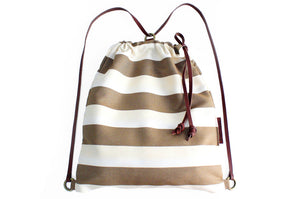 Simo BACKPACK, canvas and leather backpack, made of fabric and italian leather, striped brown.