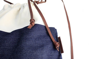 Simo BACKPACK, canvas and leather backpack, made of denim and italian leather, blue and beige.