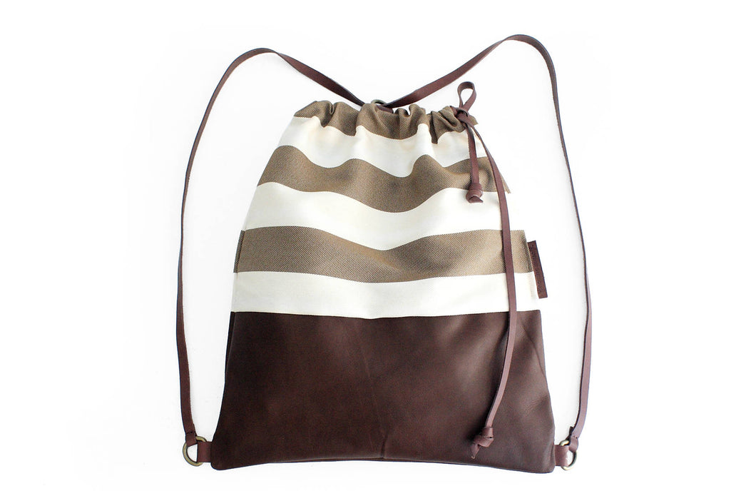 Simo BACKPACK, leather backpack, made of aniline leather, canvas striped brown and italian leather.