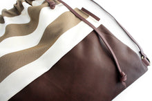 Load image into Gallery viewer, Simo BACKPACK, leather backpack, made of aniline leather, canvas striped brown and italian leather.