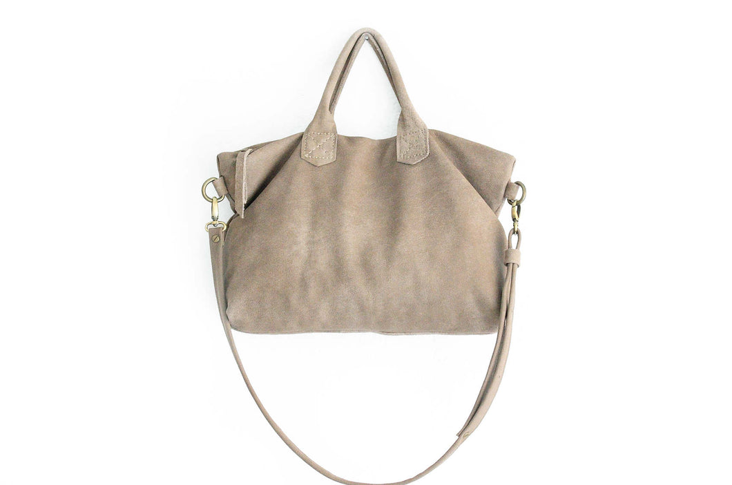 Leather crossbody bag, SHOULDER BAG with handles made of italian taupe leather. Silvie leather shoulder bag and crossbody