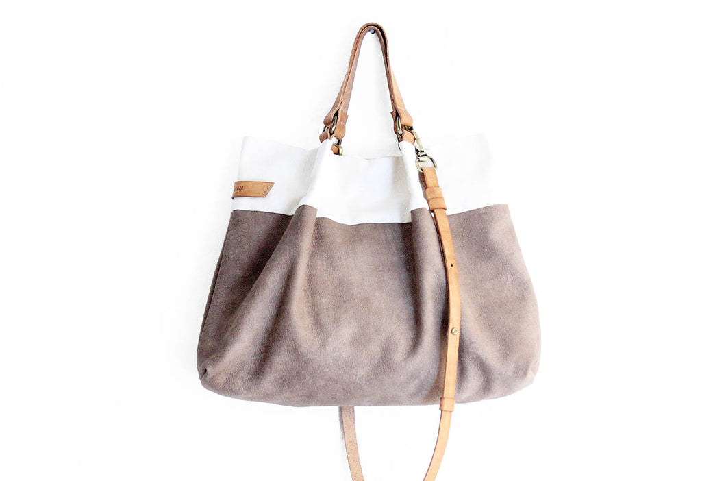 TOTE bag and HAND bag made of soft nubuck leather, canvas and italian leather. Emma bag