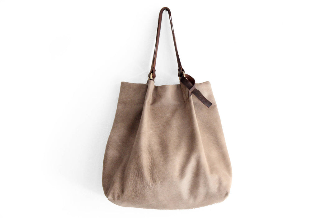TOTE bag made of italian leather, NUBUCK finishing. Anna bag personalized with name, leather version