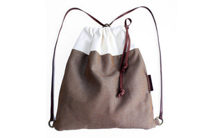 Simo BACKPACK, canvas and leather backpack, brown and beige.