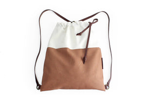 Simo BACKPACK, leather and canvas backpack, Brown and beige