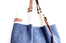 Load image into Gallery viewer, TOTE bag and HAND bag made of soft suede split leather, canvas and italian leather. Emma bag