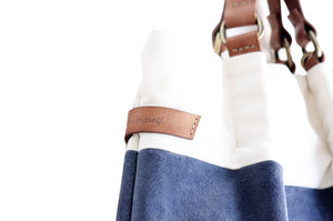 TOTE bag and HAND bag made of soft suede split leather, canvas and italian leather. Emma bag