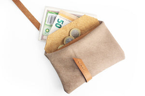 Cris Coin purse, leather little wallet color, taupe leather and vegetable tanned leather