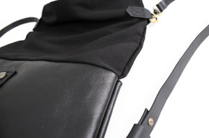 Roby BACKPACK, leather and canvas backpack, black color