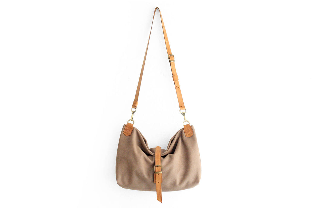 MARY, SHOULDER BAG made of nubuck leather, color taupe and brown