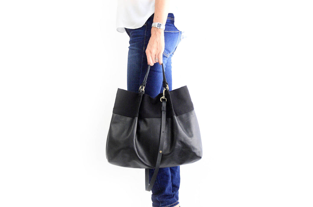 TOTE bag and HAND bag made of soft italian leather, canvas and italian leather. Emma bag