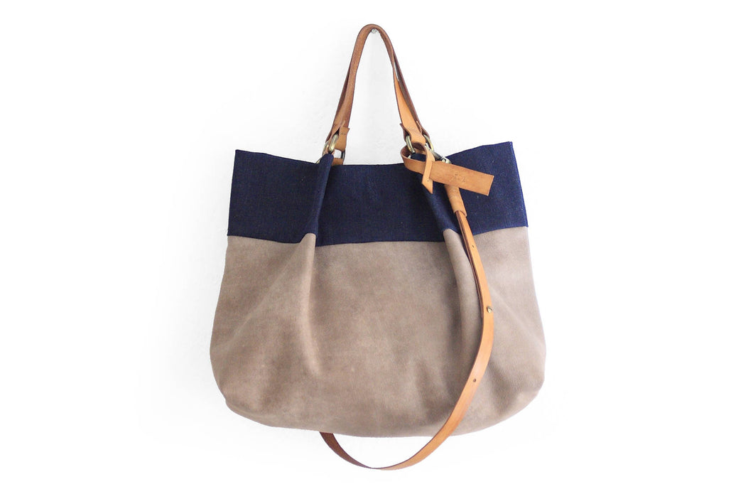 TOTE bag and HAND bag made of soft italian taupe leather, canvas, denim and italian leather. Emma bag