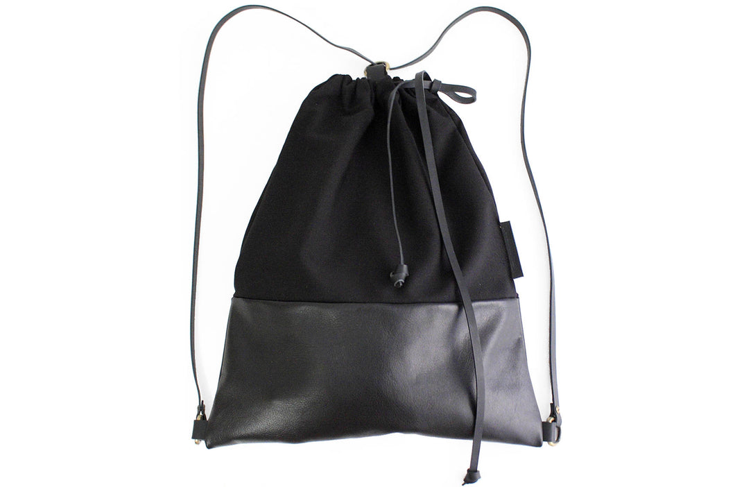 Simo BACKPACK, leather backpack, made of aniline leather, canvas and italian leather. Black color