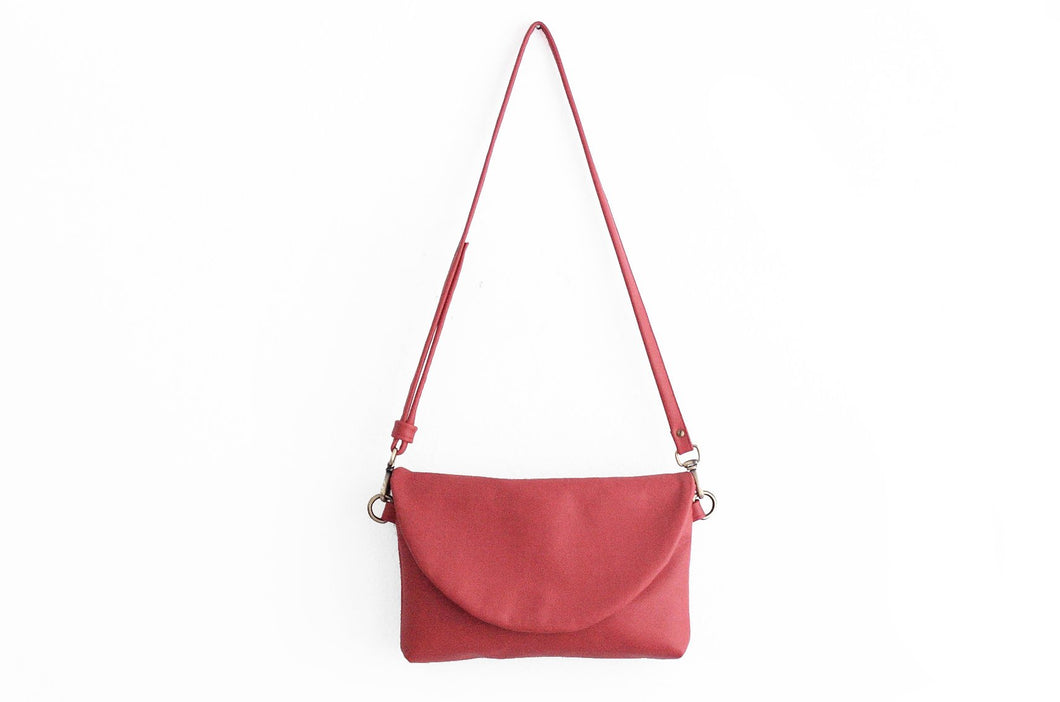 Leather CROSS-BODY bag made of italian leather  color red. Sofia leather crossbody bag