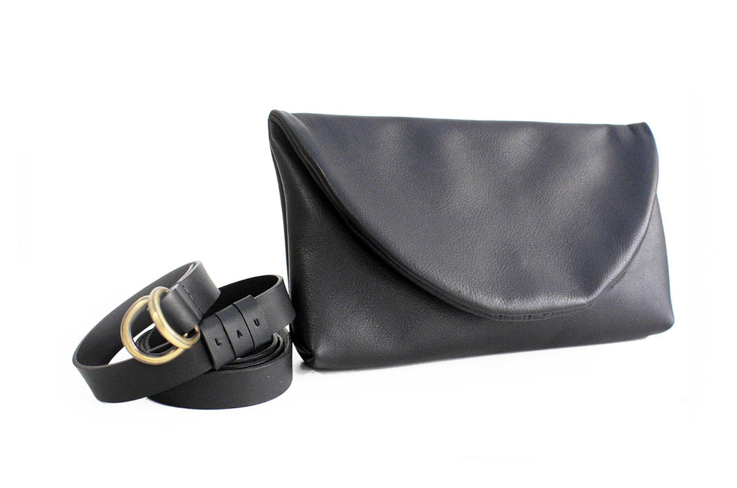Clutch, Waist bag, belt bag, leather belt, made of very soft nappa leather, black. Waist bag