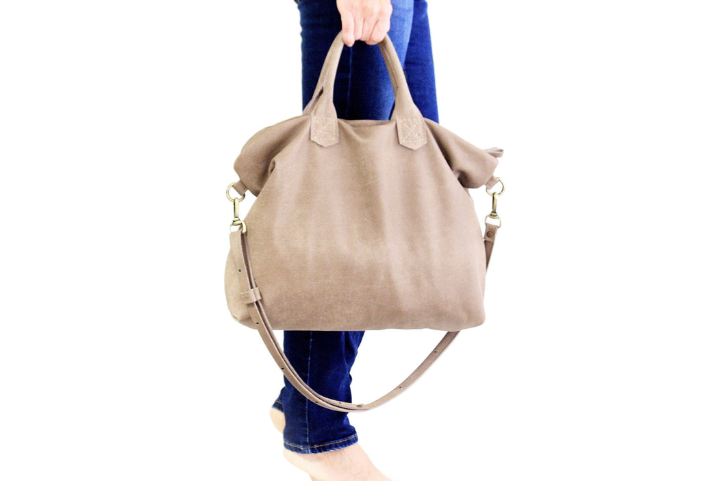 Leather crossbody bag, leather SHOULDER BAG with handles made of italian Taupe leather. Silvie leather shoulder bag