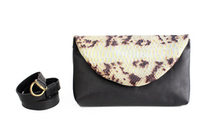 Waist bag, belt bag or clutch bag made of very soft nappa leather and python. Waist bag