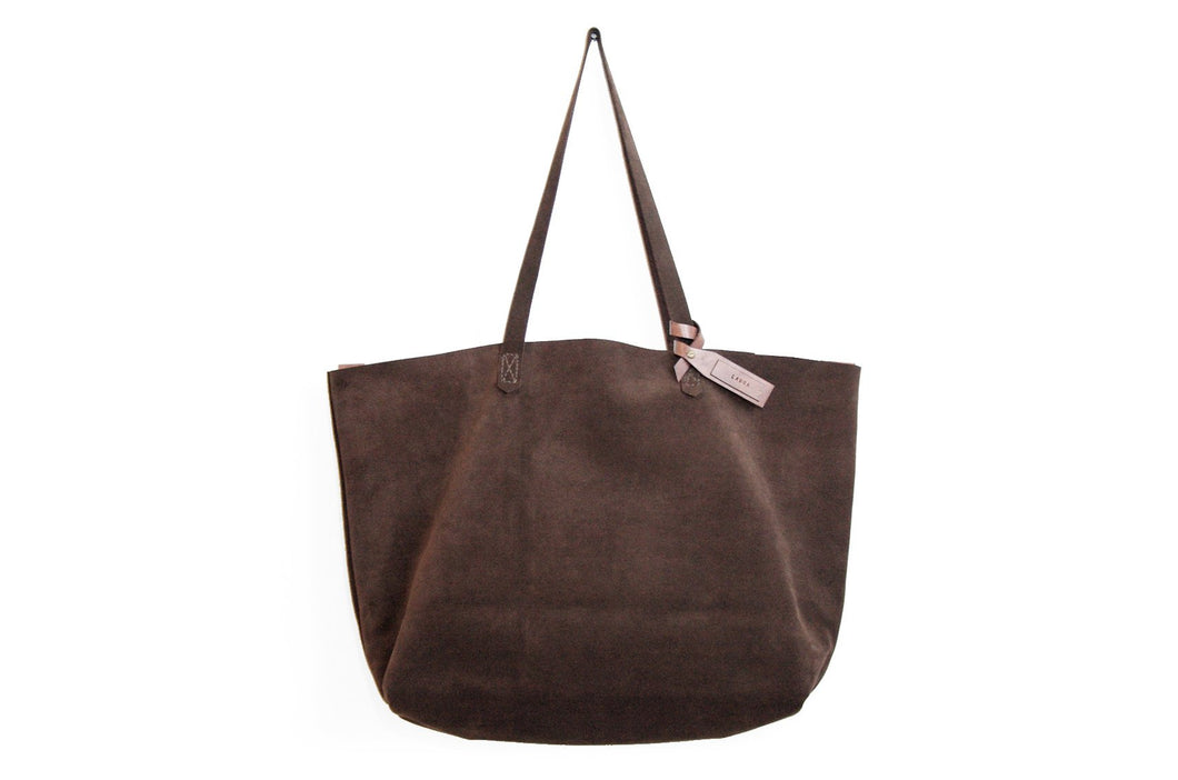 TOTE bag, Shopping bag, Shoulder bag made of brown, chocolate SUEDE LEATHER. Personalized with your name. Anita Tote bag