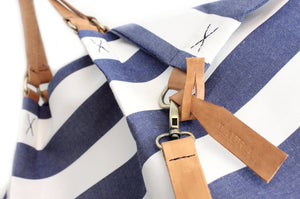 Weekend bag, canvas and leather shoulder bag, made of water resistant fabric striped blue, personalized bag with name