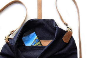 Roby BACKPACK, denim and leather backpack, denim lining, blue.