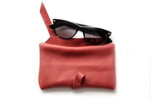 Camy Phone case, eyeglasses holder, pencil case made of italian leather, red